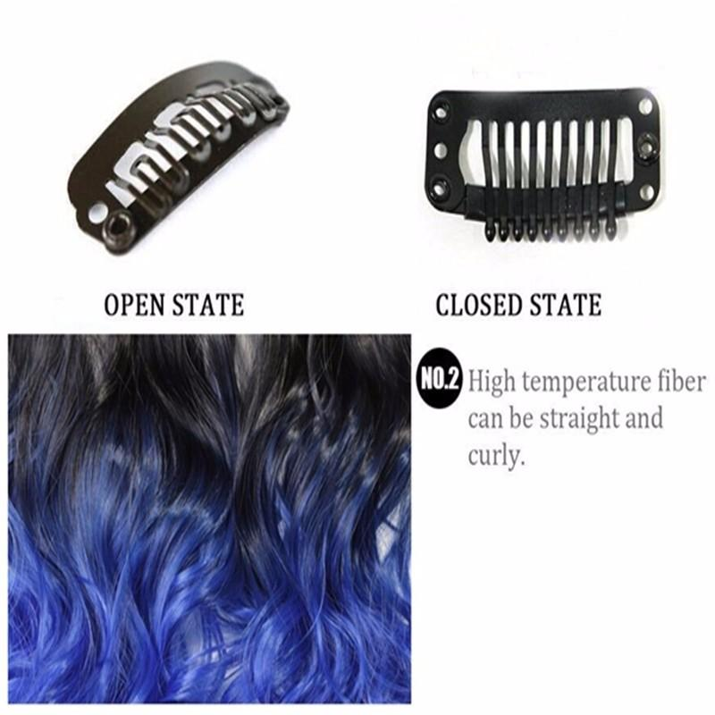 Nawomi 5 Clip Straight 20 In Hair Extension 50cm Long Black Blue