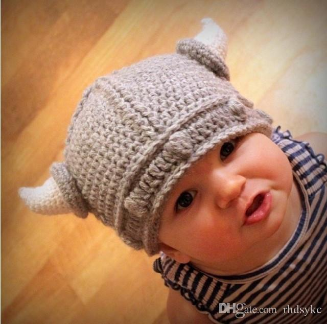 07fdea33a17 ... Kids Viking Horns Hats Children Infant Handmade Crochet Winter Hats  Knitted Caps Snapback Swag Skullies Caps ...