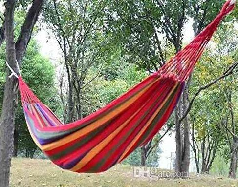 2019 Travel Camping Canvas Hammock Outdoor Swing Garden Indoor Sleeping  Rainbow Stripe Double Hammock With Bag Bed 280X80cm Drop Shipping Gift From  Jessie06 ...