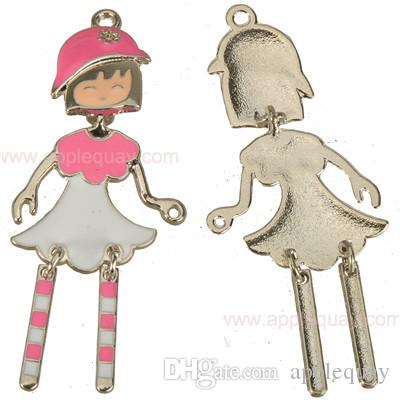 dancing girls necklaces pendants charms diy bracelets charms activity girls silver base enamel mixed color metal 64mm jewelry findings