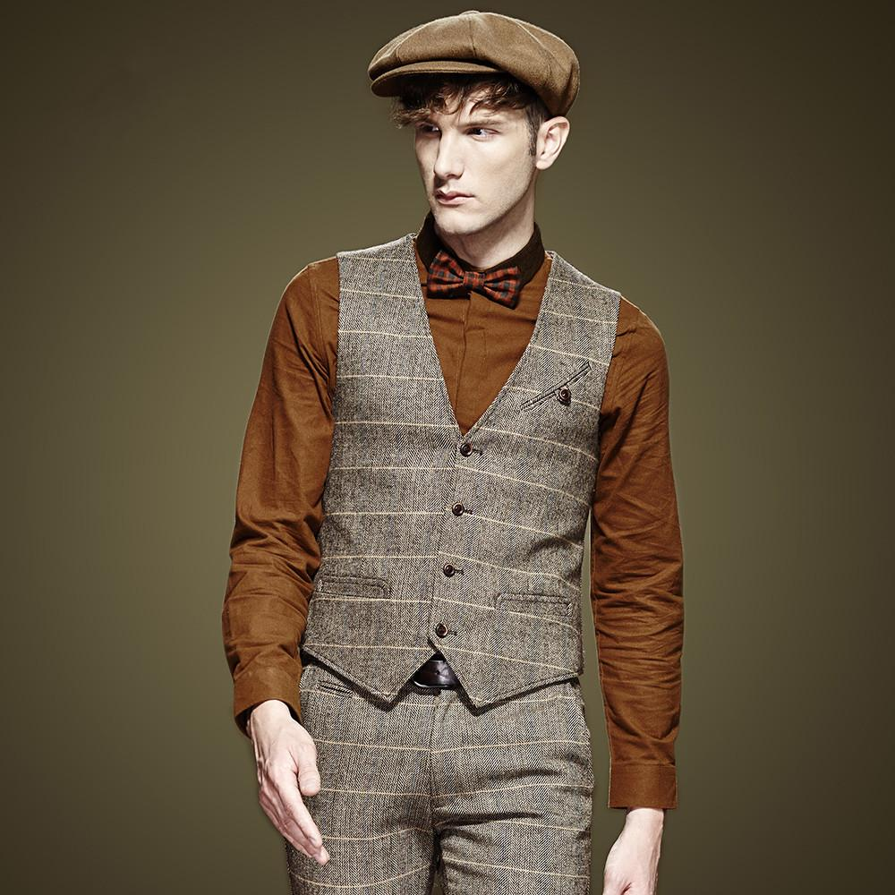 Young Men Wool Suit Vest Fashion And Horse Grid Grid Dress Dress ...