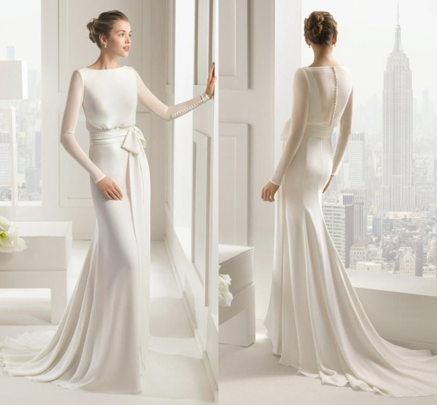 2015 Simple Design Long Sleeves Wedding Dresses Chiffon Ribbon ...