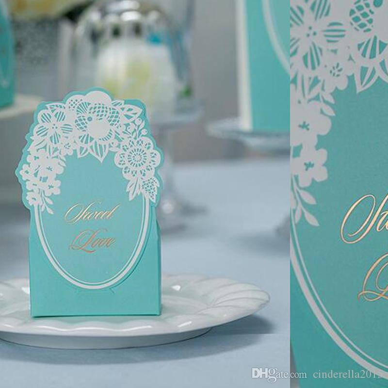 Vintage Wedding Candy Box Blue Gorgeous Wedding Party Favor Gift Boxes Laser Cut Paper Bag Chocolate Sweet Favor Packaging