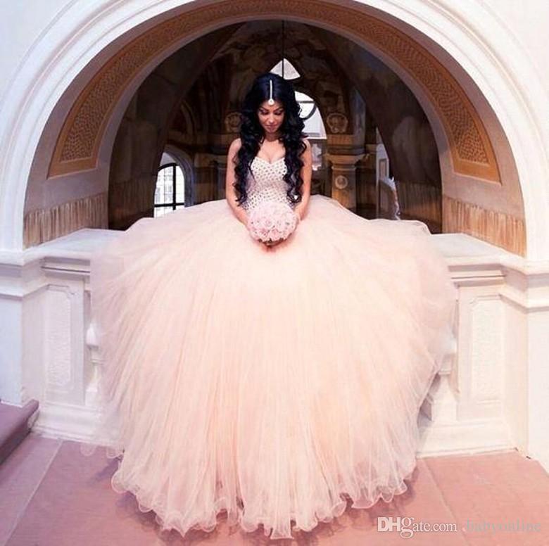2018 Beautiful Blush Pink Arabic Dubai Ball Gown Wedding Dresses ...