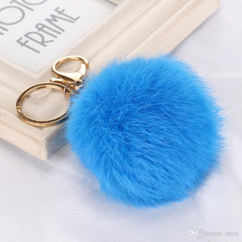 DHL free lovely 8CM Genuine Leather Rabbit fur ball plush key chain for car key ring Bag Pendant car keychain