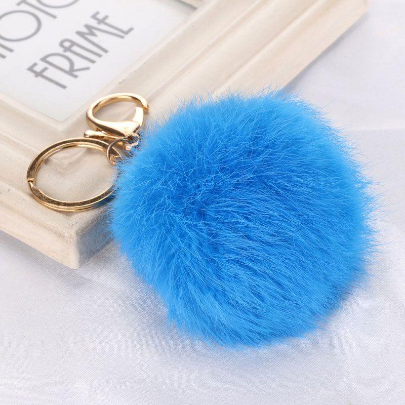 DHL gratis 100 stks 20 kleuren mooie 8cm lederen konijnenbont bal pluche sleutelhanger voor auto sleutel ring tas hanger auto sleutelhanger