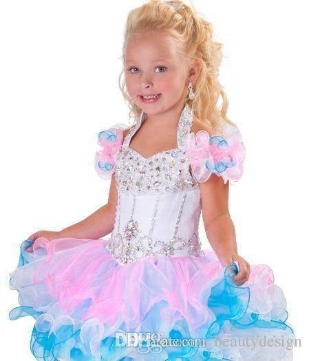 2018 Lovely Halter ball gown mini glitz pageant dresses backless crystal beads piping organza cupcake pink white flower girl dress