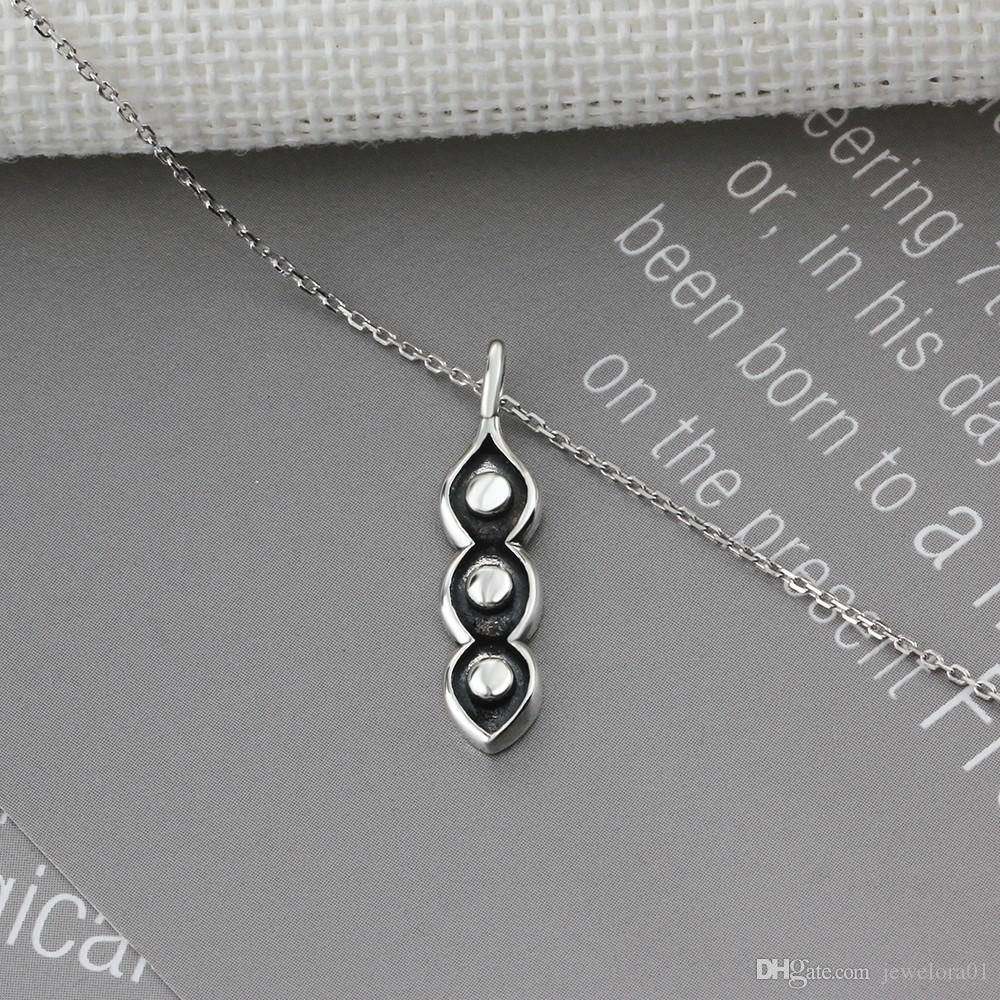Vintage Silver Jewelry Pea Shape Design Pendents Classic Womens 925 Sterling Silver Cross Chain Pendant Necklaces