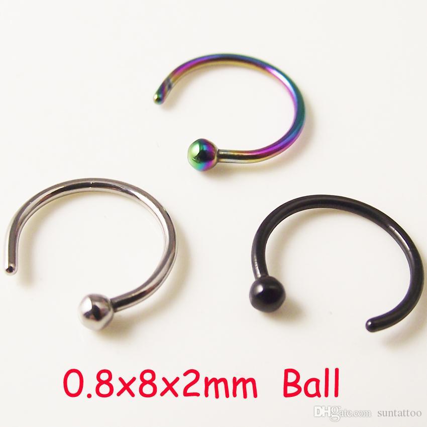 100 pezzi Spedizione gratuita Medical Titanium Nose Hoop Nose Rings Gioielli piercing falsi il corpo Acciaio nero Oro Rainbow 18G Gioielli il corpo