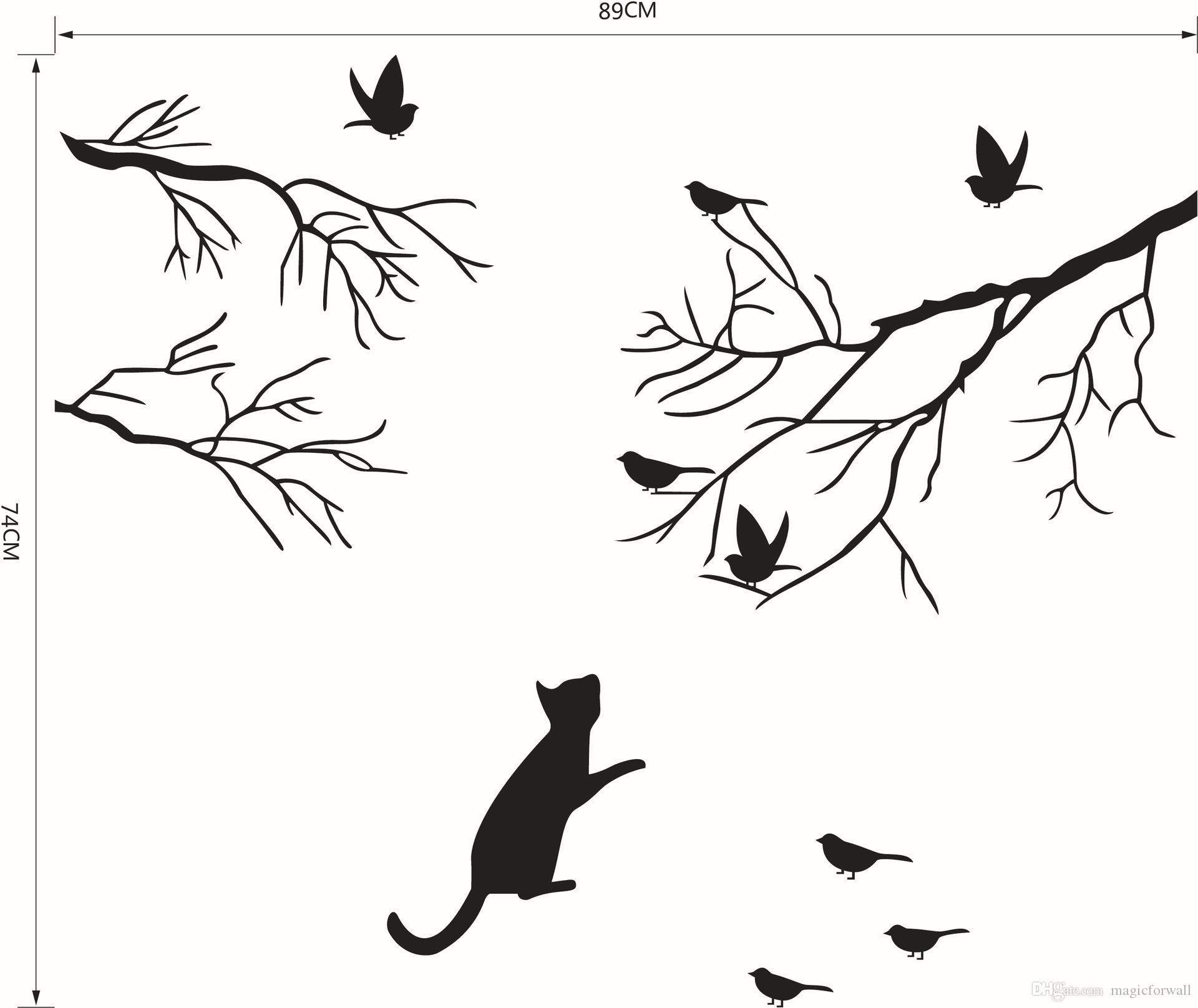 Cat Chasing the birds under the tree wall decal sticker Black Bird on the Tree Branch Wall Art Mural Poster Window Glass Wall Decoration Art