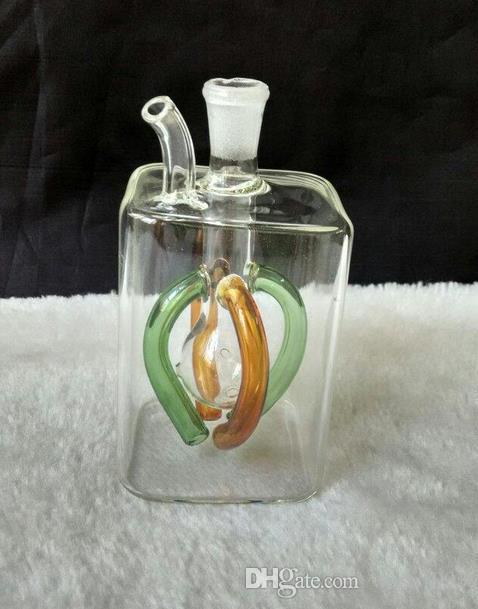 envío gratis ----- 2015 nuevo color 4 de la cachimba de vidrio cuadrada / bong de vidrio, tamaño 10 * 5 cm, accesorios de regalo bote de vidrio y vidrio con b