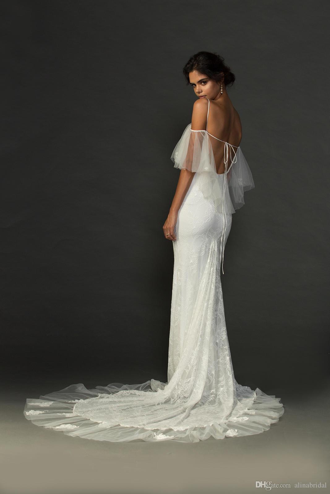 Robes de mariée sexy sirène Hippie dos ouvert avec bretelles spaghetti pure Bolero de l'épaule Boho robes de mariée plage robe de mariée