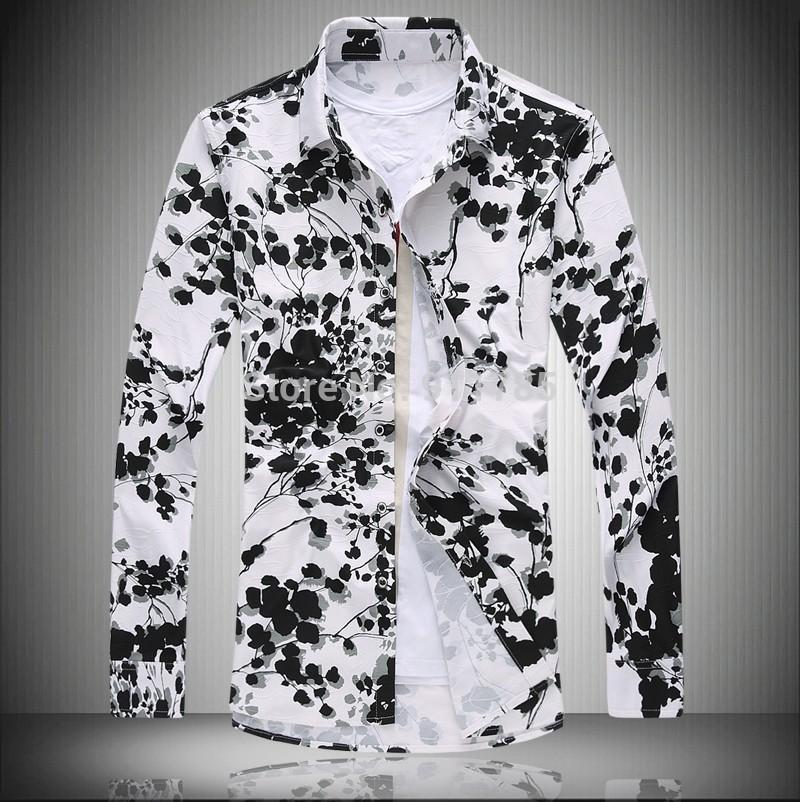 2017 2015 Autumn Mercerized Flowers Printed Shirts Men Loose ...