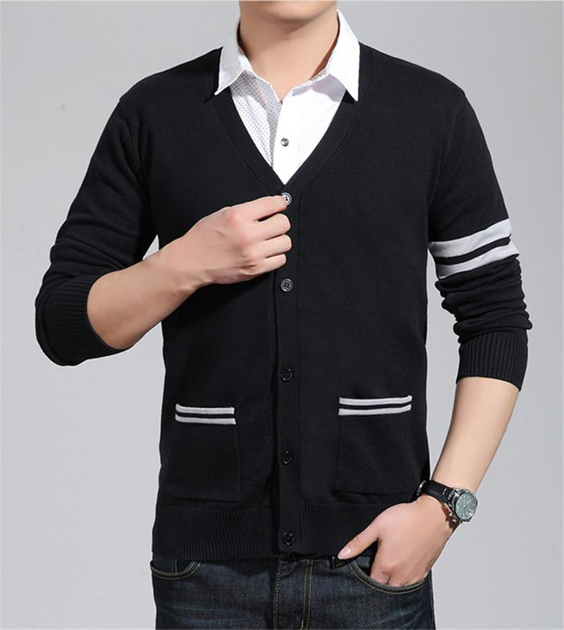 Fashion Autumn Winter Men Sweater V Neck Cardigan Mens Knitwear Sweater Slim Casual Sweater Brand Cardigan Navy Blue Black Gray M-2XL
