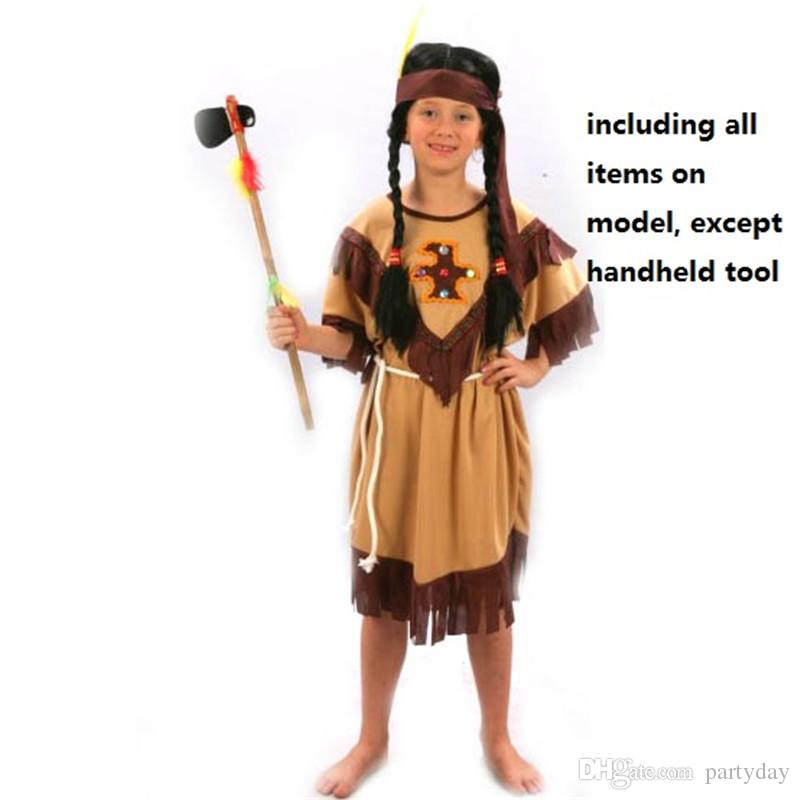 child native american indian princess dress costume boy soldiers warrior fancy dress performance clothes halloween party supplies new year s theme costume - Halloween Native American