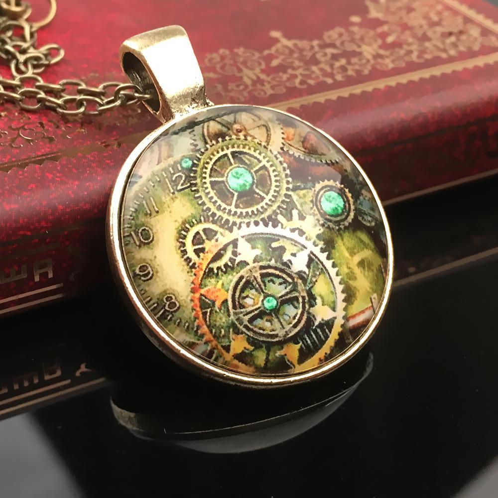 Engrenagem roda de engrenagem Mecânica Pingente Colares Charme Correntes Tempo gem vidro Declaração Vintage Antigo Bronze Cabochão De Vidro jóias Livre DHL