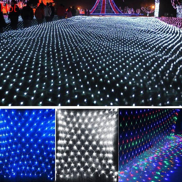 2x2m 144 led outdoor net lights christmas xmas fairy string party holiday wedding party decoration lights eu plug blue colorful hot sv008166 paper lantern