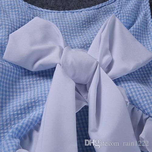 Yaz Küçük Kızlar Pamuk Yay Yelek Şort Giyim Setleri Bebek Çocuklar Mavi Ekose Ruffles Yay Giysileri Kıyafetler Çocuk Çocuklar Kıyafetler Suits