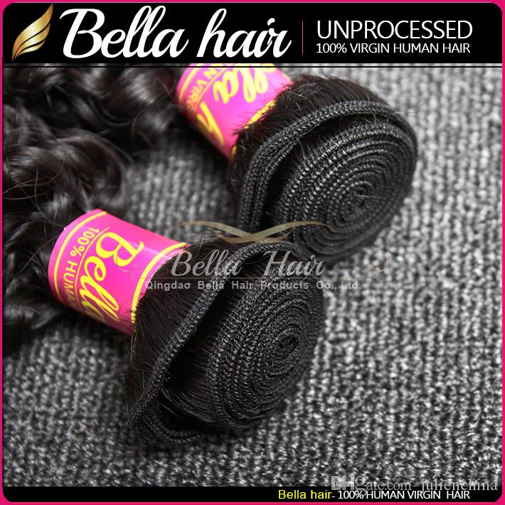 Bella Hair® Grau 8-30inch 100% Não Transformados Indian Virgem Weave Weave Natural Color Curly Extension 2 Bundles