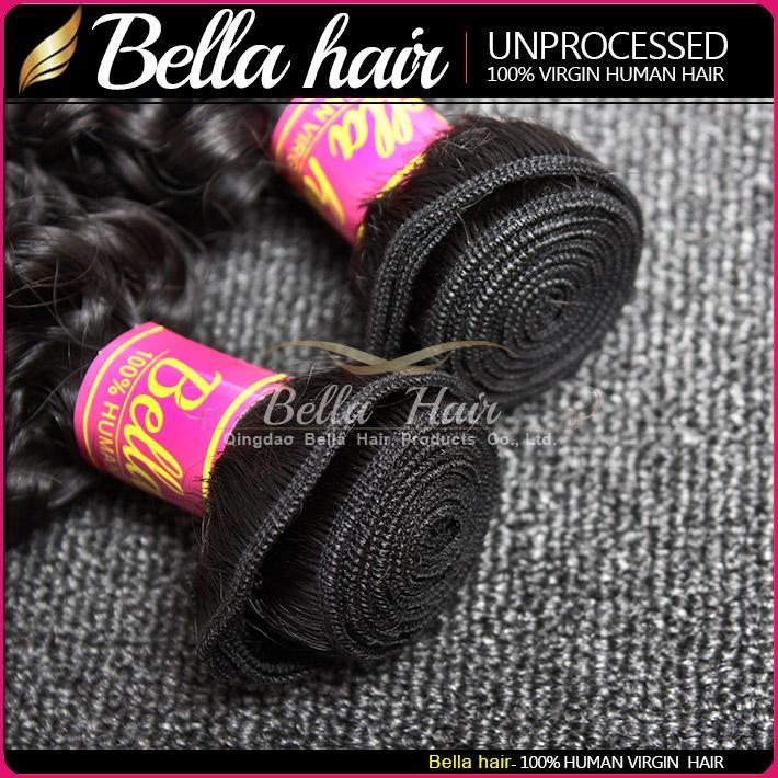 Partihandel 10st / Parti 10-24INCH Hårväv Obehandlat Hårbuntar Naturfärg Indisk Curly Human Hair Weft Gratis Frakt Bella Hair
