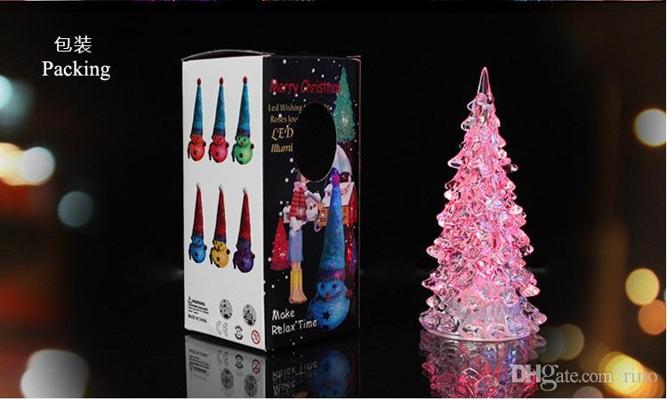 Christmas Decorations Gifts Cute Mini LED Christmas Tree with Light 13cm Hight Can Change Colors Xmas Home Decorations