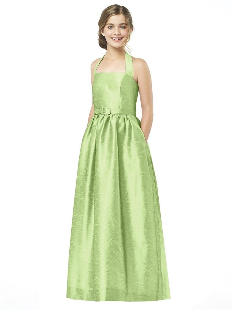 Design Long Junior Bridesmaid Dress Green Taffeta 2015 Young Girls ...