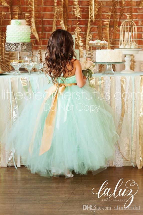 Lovely Mint Green Flower Girls' Dresses Tutu Dress Spaghetti Straps Empire Sash Ball Gown Floor Length Wedding Party Gown Girl Pageant Dress