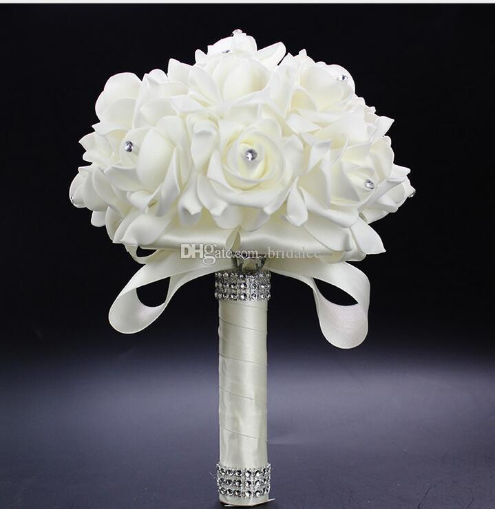 2016 Elegante Subiu Flores Artificiais De Noiva Bouquet De Noiva Buquê de Casamento de Cristal Azul Royal Fita De Seda New Buque De Noiva 6 Cores