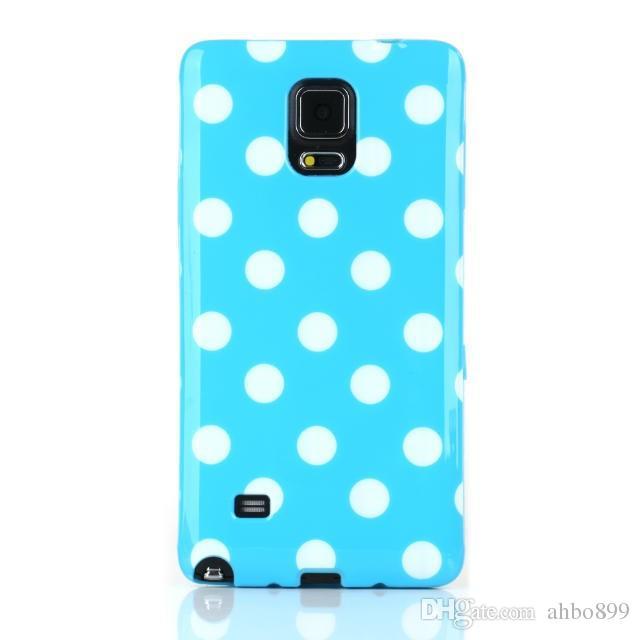 Wholesale Lovely Point Polka Dots Macio TPU Caso Capa Do Telefone Móvel Para Samsung Galaxy Note 4 Frete Grátis