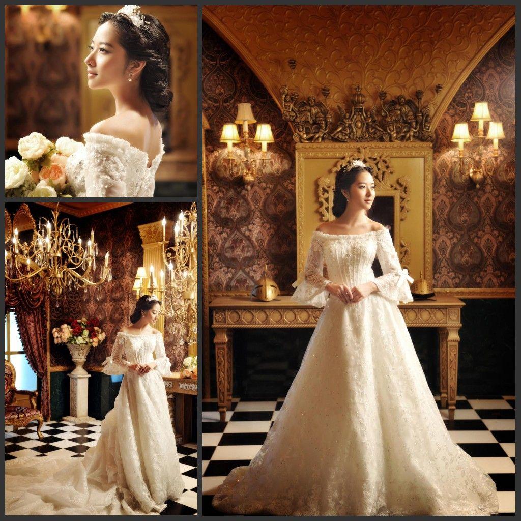 2015 Ivory Vintage Off Shoulder 3/4 Sleeve Ball Gown Wedding Dresses ...