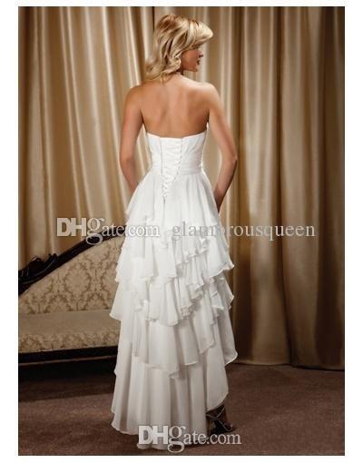 Nouvelle arrivée courte devant long dos chérie en mousseline de soie haut bas pays robes de mariée occidentales
