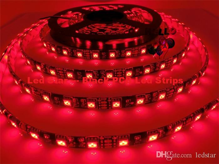 Green Blue Red Warm White Led Strip Black PCB 5050 RGB Light Strips 12V Waterproof/Non-Waterproof 5M 300 LEDs 5m/roll In Stock
