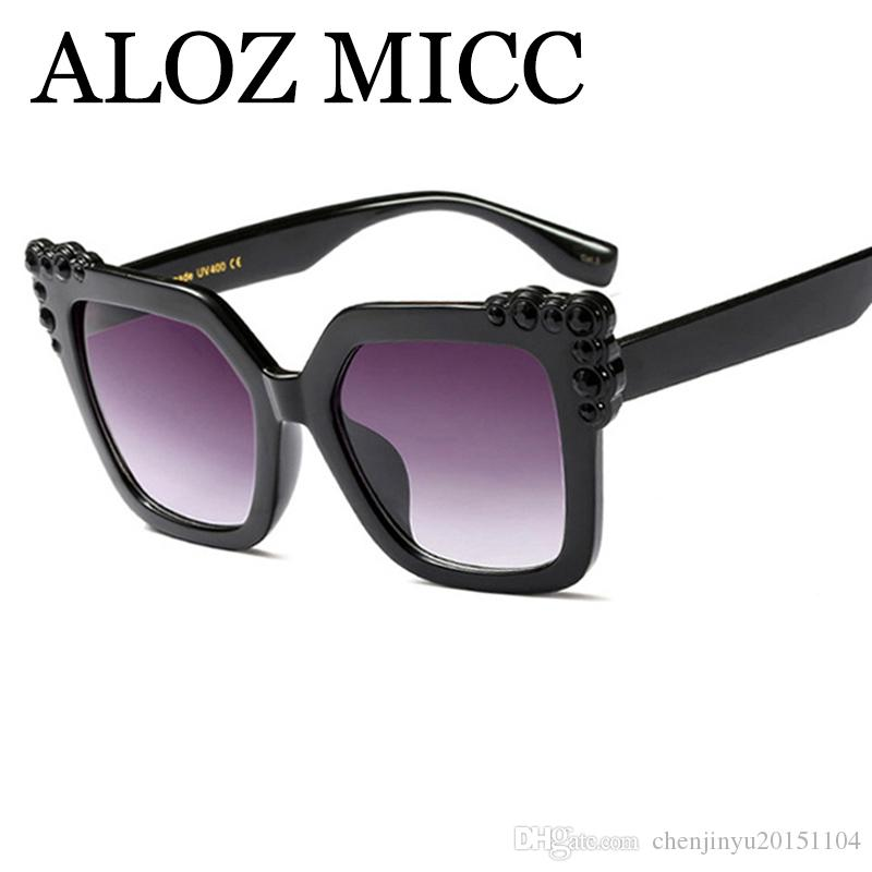 af06d5fc3a ALOZ MICC Fashion Square Diamond Sunglasses Women Luxury Crystal ...