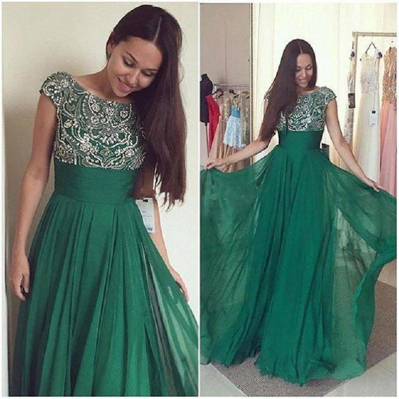 Vestidos De Gala Emerald Green Prom Dresses 2018 Elegant Sheer