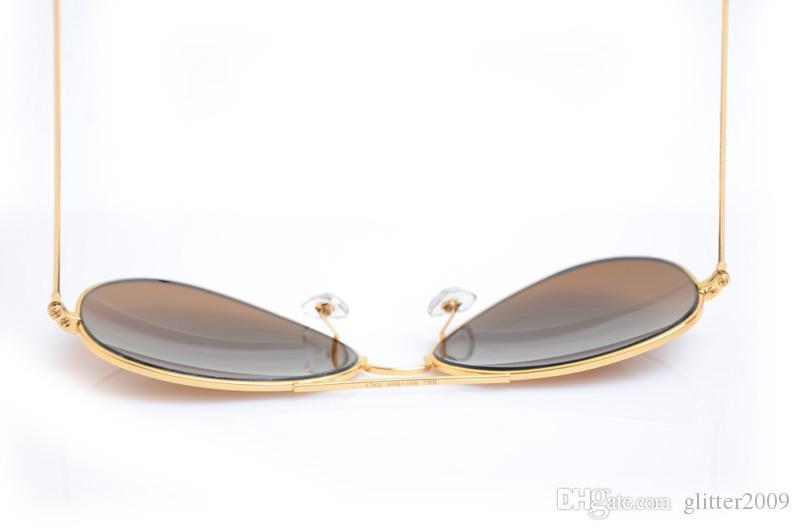 Mens Mirror sun glasses Classic Unisex Sunglasses pilot Womans glasses Glass sunglasses Brand New glasses Brand Designer sunglasses 58