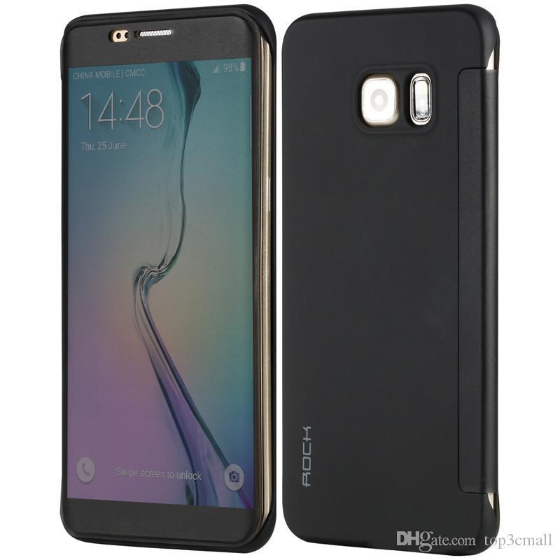 newest 0d2b1 4831f Phone Case For Samsung Galaxy S6 edge plus ROCK Dr.V Smart Transparent  Window Flip Case Cover For Samsung Galaxy S6 Edge G9280