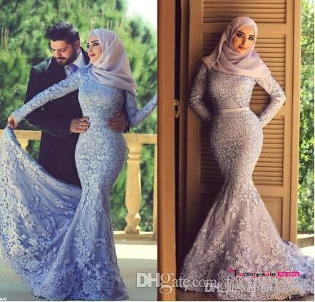 New Muslim Arabic Evening Dresses Lace Mermaid With Long Sleeves Sweep  Train Prom Dress Fashion Party Gowns Said Mhamad BO8605 Evening Dress Short  Evening ... 74c8a4aa5a72