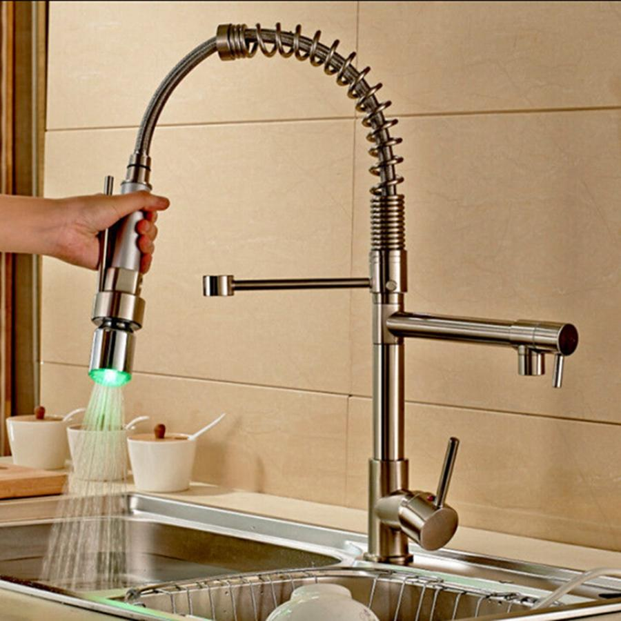Wholesale And Retail Brushed Nickel Kitchen Faucet Swivel Spouts LED Sprayer Deck Mounted Vessel Sink Mixer Tap