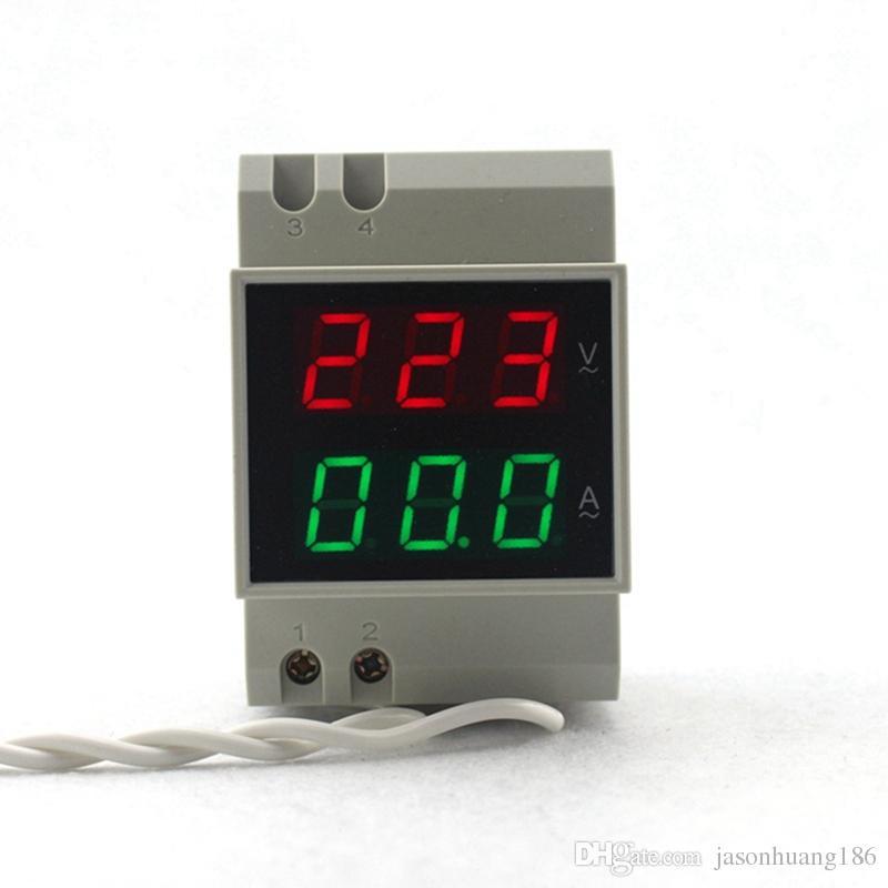 Cor de exposição do diodo emissor de luz do Vermelho-Verde do Amperímetro do voltímetro do trilho do ruído do CA 200-450V 100A
