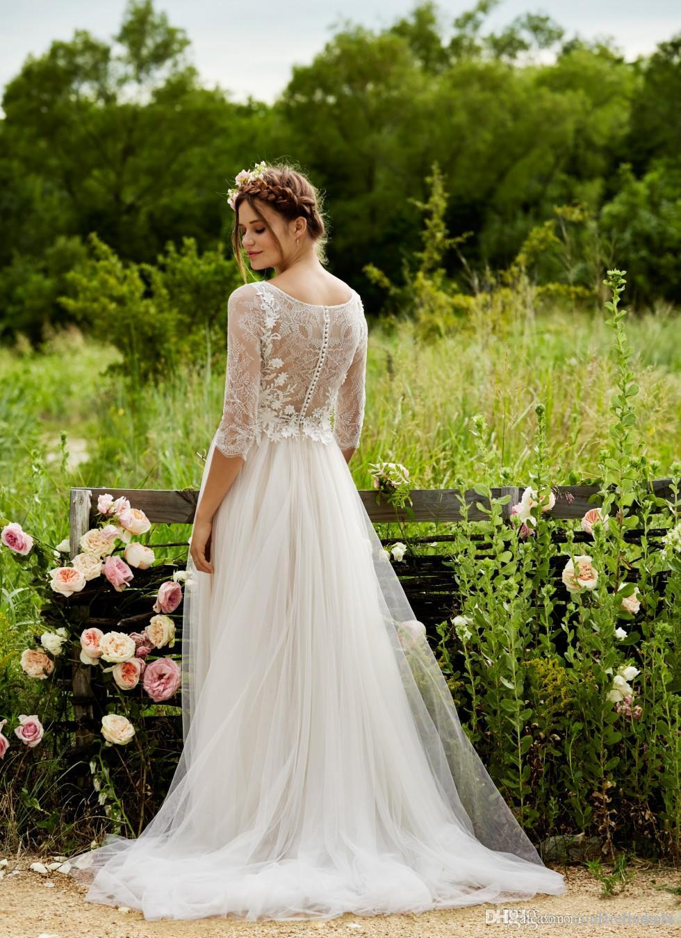 BHLDN 2020 Spring Full Lace Wedding Dresses with Half Sleeves A Line Scoop Tulle Floor Length Floral Appliqued Lace beach Bridal Gown BA1642