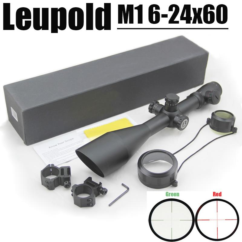 Leupold MARK 4 M1 6-24x60 mm Rifle Mill Dot Scope with Illuminated Red and  Green come with Pair of 20 mm rail Mounts