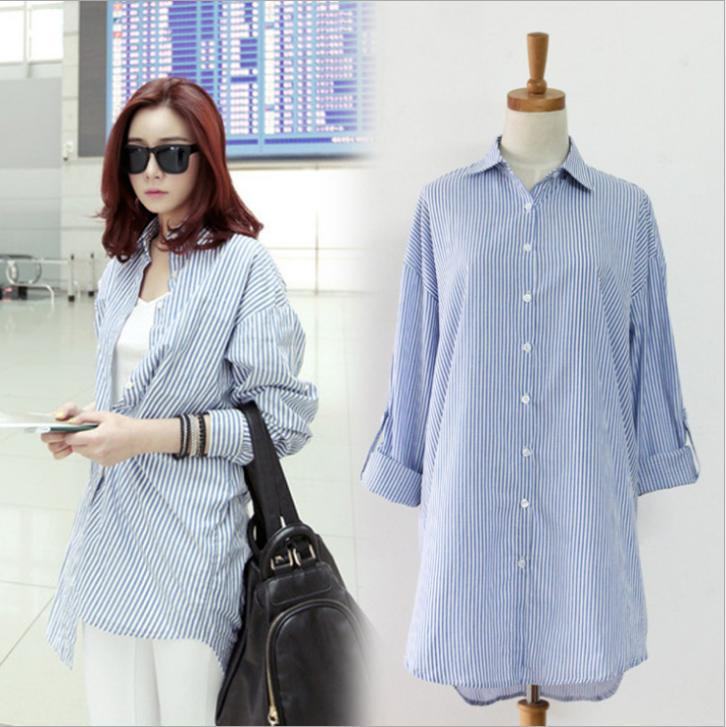 Blue And White Striped Blouse Women Long Loose Boyfriend Blouses ...
