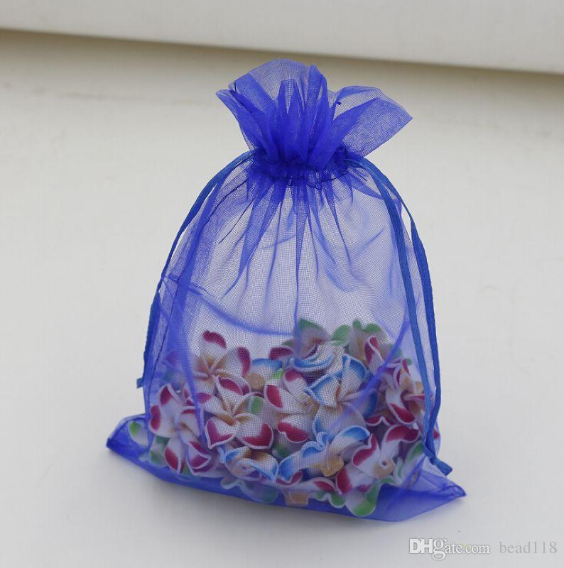 Hot ! Sapphire Blue Organza Gift Bags 20x30 cm / 4 inches With Drawstring 003585