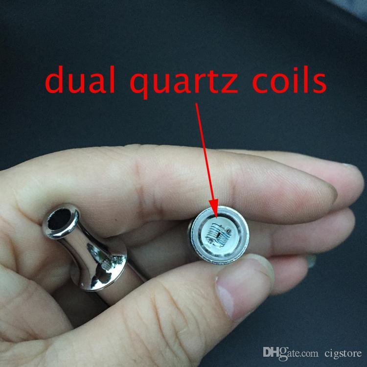 Bobinas de quartzo dupla ss frigideira atomizador vaporizador de cera dupla revolilvável de quartzo único vaporizer vs canhão vaso cerâmico