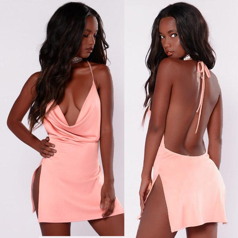 2017 neue mode kleider sommer dress frau casual sleeveless sexy damen solide tiefem v-ausschnitt satin strand weibliche kurze mini dress