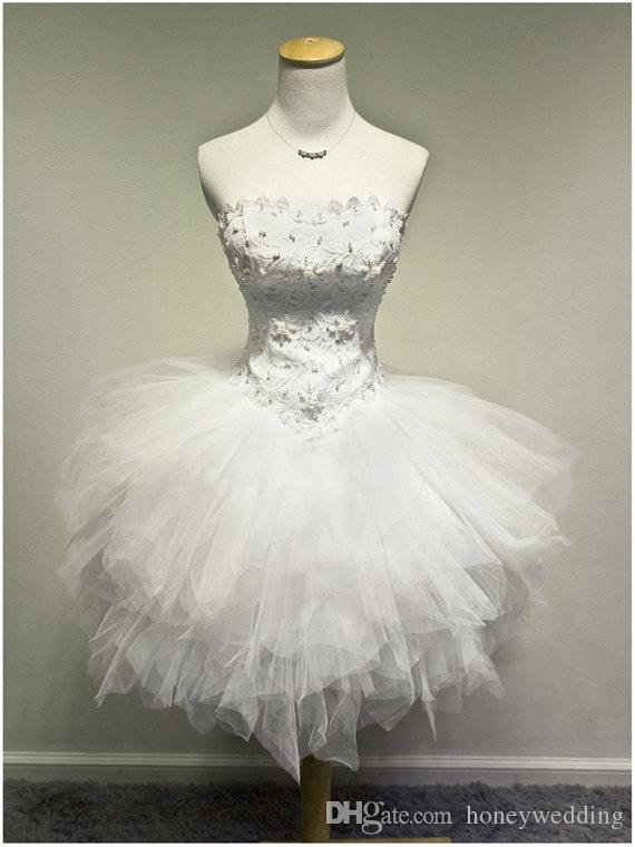 White Ivory Lace Appliques Pearls Beaded Tutu Princess Short Party Ball Gowns Bandage Mini Prom / Cocktail / Homecoming Dresses