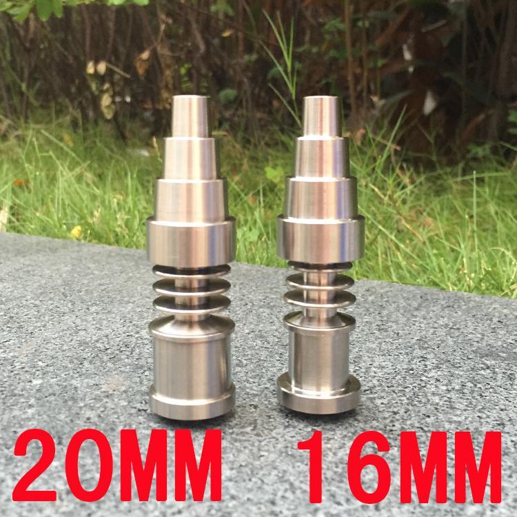 1 Titanium tırnak 10/14 / 18mm Kadın Ve Erkek Kubbesiz Tırnak 6 delik Titanyum Carb Cap İçin Cam Boru yılında Universal 6