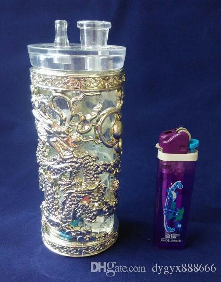 Toptan ücretsiz gönderim ----- 2015 yeni Silindirik Panlong Akrilik Nargile, boyutu 14 * 5 cm, aksesuarlar pot, yürüyüş tahta, saman