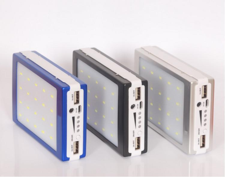 Wholesale-new 20000 MAH Солнечная и кемпинговая батарея панель батареи внешнее зарядное устройство Двойное 20000 мАч Солнечные зарядки Порты 5 Цветов Выберите для