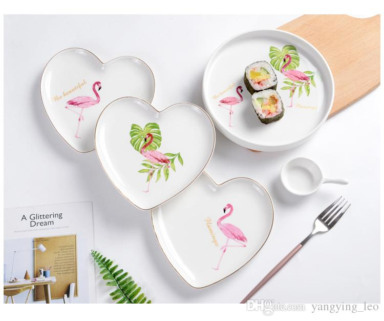 2018 Pink Flamingo Plate Ceramic Plate Set Ceramic Tableware Set Can Use In Microwave Oven/Disinfection Cabinet From Yangying_leo $17.09 | Dhgate.Com  sc 1 st  DHgate.com & 2018 Pink Flamingo Plate Ceramic Plate Set Ceramic Tableware Set Can ...